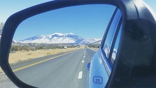 Humphreys Peak in a car mirror